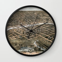 Bird's eye view of the city of Des Moines - Iowa - 1868 Wall Clock