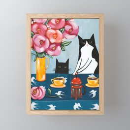 Cats and French Press Coffee Framed Mini Art Print