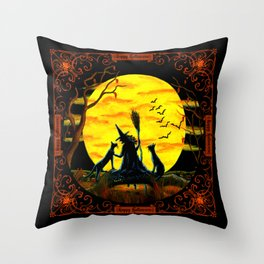 """Patience,Halloween Nears"" Throw Pillow"