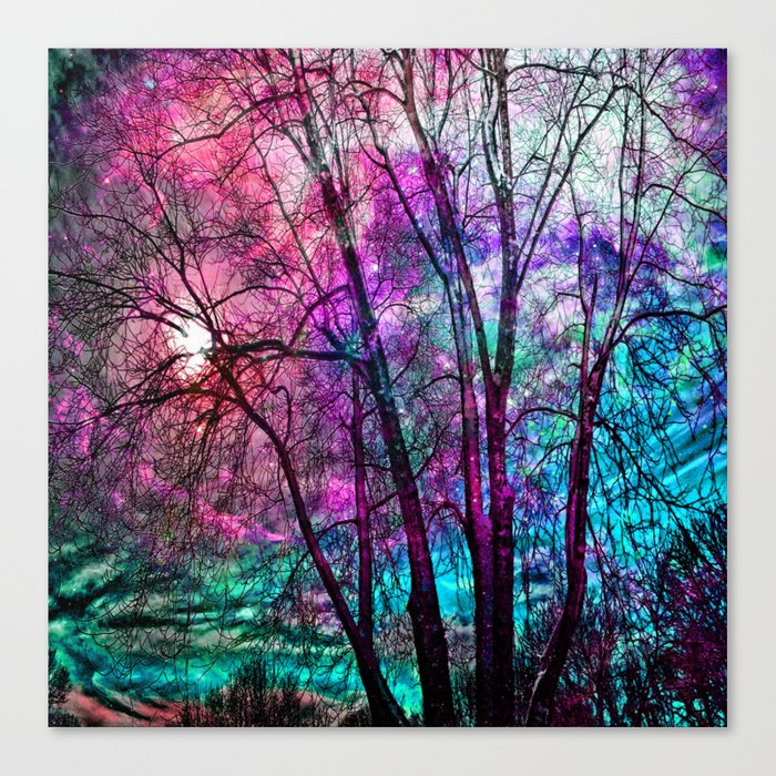 Purple teal forest Canvas Print