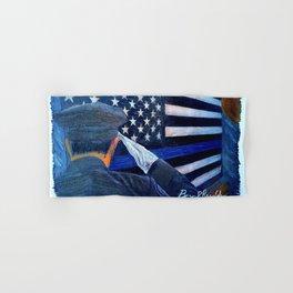 """""""Stay Safe"""" Thin Blue Line - Police - Law Enforcement - Original Art Drawing by Bryn Reynolds Hand & Bath Towel"""