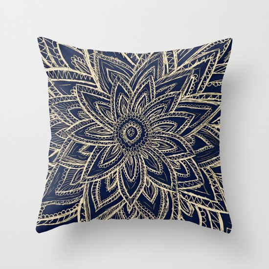 Cute Throw Pillow Society6 : Cute Retro Gold abstract Flower Drawing geometric Throw Pillow by Girly Trend Society6