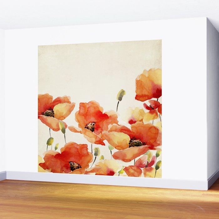 Poppy Flower Meadow- Floral Summer lllustration Wall Mural