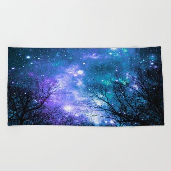 Black Trees Violet Teal Space Beach Towel