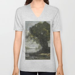 "Jean-Baptiste-Camille Corot ""L'étang au chien (The dog pond)"" Unisex V-Neck"