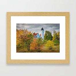 MICHIGAN UPPER PENINSULA LIGHTHOUSE AUTUMN GREAT LAKES Framed Art Print