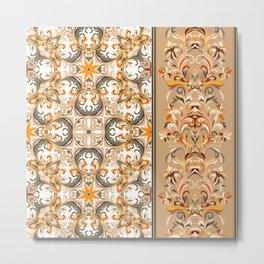 Boho Floral Fantasy Pattern Metal Print