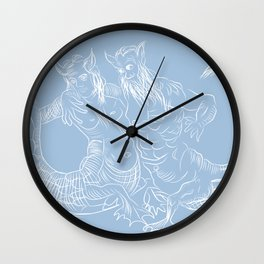 Portrait of mermaid couple Wall Clock