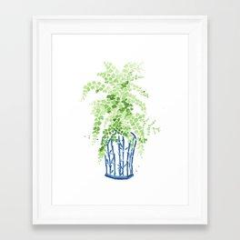 Ginger Jar + Maidenhair Fern Framed Art Print