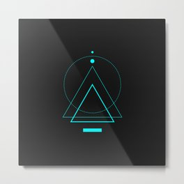 Abstract Geometry 3 - Cyan Metal Print