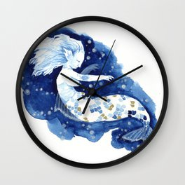 blue and gold waters Wall Clock