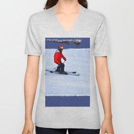 Winter Run - Downhill Skier Unisex V-Neck