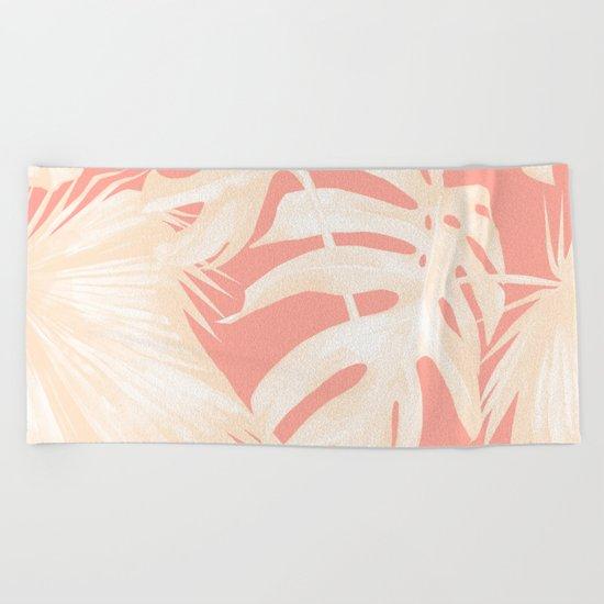 Tropical Coral Pink Palm Leaf Pattern Beach Towel