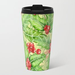 Holly berry watercolor Christmas pattern Travel Mug