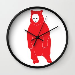 Red Bear Mask Wall Clock