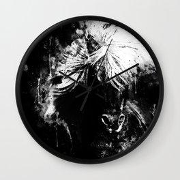 horse wild mane watercolor splatters black white Wall Clock