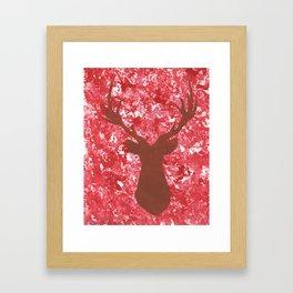 Red Camo Deer Silhouette Artwork Framed Art Print