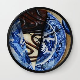Brownie Cheesecake on Blue Willow Plate Wall Clock