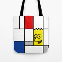 simpson Tote Bags featuring Art Simpson by Domenic Bahmann