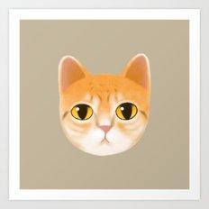 Cute Orange Color Tabby Cat Pet Drawing/Illustration Art Print