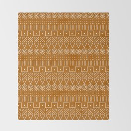 Mudcloth Style 1 in Orange Throw Blanket