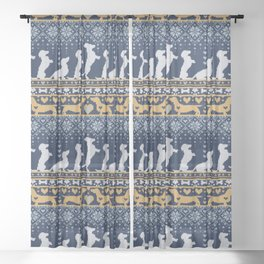 Fair Isle Knitting Doxie Love // navy blue background white and yellow dachshunds dogs bones paws and hearts Sheer Curtain