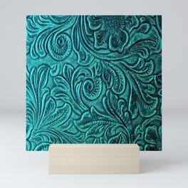 Turquoise Embossed Tooled Leather Floral Scrollwork Mini Art Print
