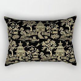 Chinoiserie Pagoda Black and Gold Rectangular Pillow