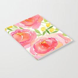 Pink Peonies - Watercolor Floral Print Notebook
