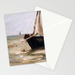 Black boat near Berck by Eduard Manet Stationery Cards