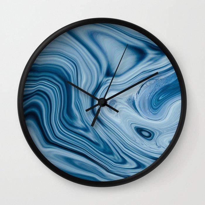 Splash of Blue Swirls, Digital Fluid Art Graphic Design Wall Clock