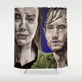 Abigail and Will, acrylic painting Shower Curtain