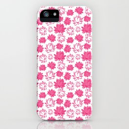 Lotus flower pattern on white background iPhone Case