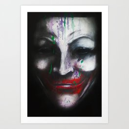 Joker for Vendetta - Acrylic on Wood Panel by Chuck Jackson  Art Print