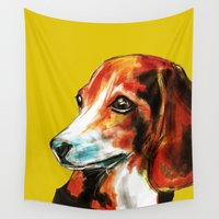 beagle Wall Tapestries featuring Beagle by James Peart