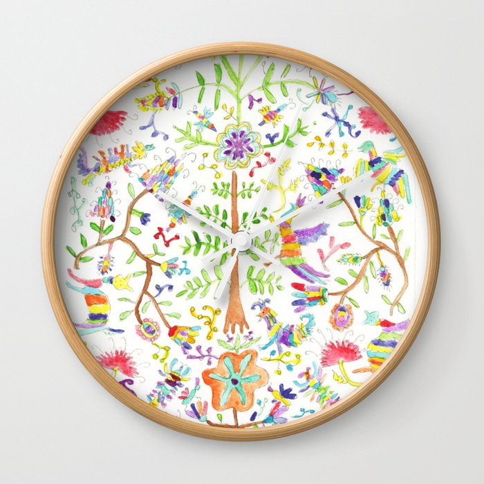 Otomi textile watercolor Wall Clock