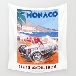 1936 Monaco Grand Prix Race Poster  Wall Tapestry
