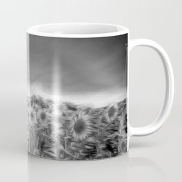 Monochrome Moonlight Sunflowers Coffee Mug