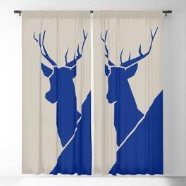 Blue deer minimal art Blackout Curtain