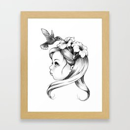 Petunia in a girl's hair, hummingbirds drink nectar of flowers, fairy tale nature Framed Art Print