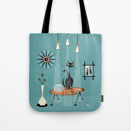 Mid Century Mishchief/ Cat Red Handed I Tote Bag