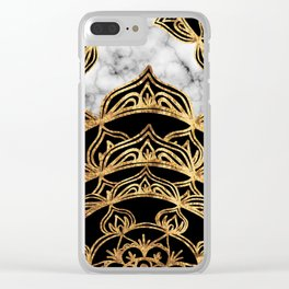 Gold Lace on Marble Clear iPhone Case