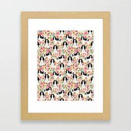 Cavalier King Charles Spaniel floral flowers dog breed pattern dogs Framed Art Print