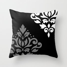 Scroll Damask Art I Black Grey White Throw Pillow
