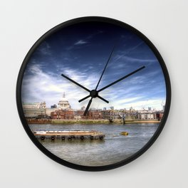 The River Thames and Barge and St Paul's Cathedral Wall Clock