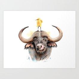 Buffalo, Watercolour Painting Art Print