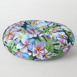Rainbow Plumeria Dark Floor Pillow