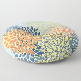 Modern, Floral Prints, Orange, Blue, Yellow Floor Pillow