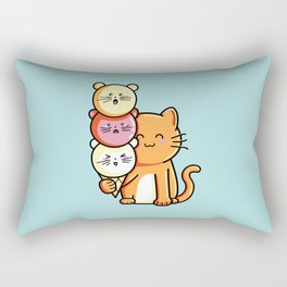 Kawaii Cute Cat and Micecream Rectangular Pillow