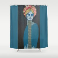halo Shower Curtains featuring Red Halo by Hinterland Girl